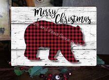 Primitive Merry Christmas Sign Plaid Bear Lumberjack Wooden Vintage Sign