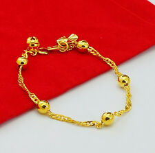 24K Gold Plated Jewelry Round Ball Bead Men Women Chain Bracelet 7.4inch GJH034