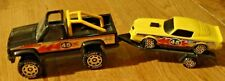 Vintage 1982 Buddy L Black Truck, Trailer & #45 Yellow Racecar Set
