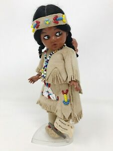 """Vintage 7.5"""" Carlson Native Doll 50-6 With Baby Papoose & Stand w/ Original Tag"""