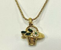 Vintage Necklace Pendant Gold Tone Flower Basket Green & Clear Rhinestones Retro