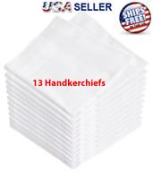 13 Pcs White Cotton Men Handkerchiefs Hanky Pocket Square Hankie Lot Set Vintage