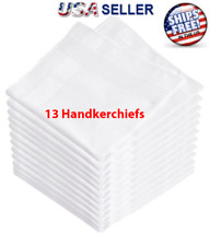 13 Pcs White Cotton Men Handkerchiefs Hanky Pocket Square Hankie Lot Set Vintage
