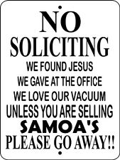 No Soliciting Sign, Aluminum, Candy, Cookies, Samoas Vinyl, Sign,Hnssamoasb