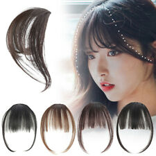 UK Women Thin Air Fringe Bangs False Fake Hair Extension Clip on Front Hairpiece