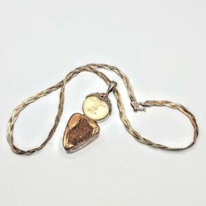 Sajen 925 Silver Goddess Carved Bovine Pendant Gold Druzy & Garnet Chain Italy