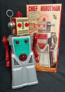 VINTAGE KO JAPAN TIN BATTERY OPERATED CHIEF ROBOTMAN  AND ORIGINAL BOX NICE!