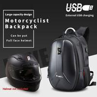 Motorcycle Backpack Waterproof Motorbike Helmet bag Computer USB Charging Plug