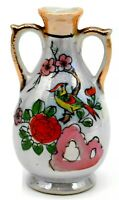 "Vintage Japanese Ceramic Hand Painted 4"" Vase with Bird and Flowers Gold Trim"