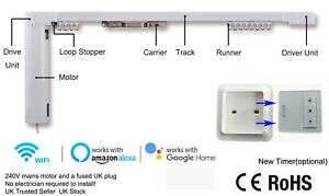 2-8M Smart Curtain Track System + Wireless Wall Button, Alexa/Google Home/Mobile