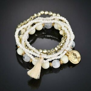New Women Ethnic Boho Multilayer Crystal Tassel Beads Bracelet Bangle Jewelry