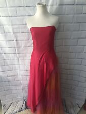 Morgan & Co Prom Dress Sz 7/8 Pink Orange Full Length Poofy Tulle Strapless Gown