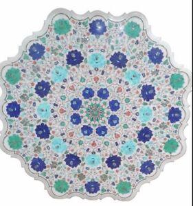 "36"" Marble Table Top Semi Precious Stones Floral Inlay Handmade Work"