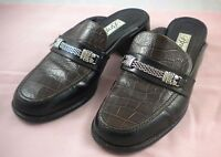 Women's Brighton Dale Brown Black Leather Mules Slides Slip On Loafers Shoes 8
