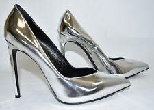 $600 SAINT LAURENT Pointy Toe Silver Mirror 'Paris Skinny 105' Pumps shoes 40.5