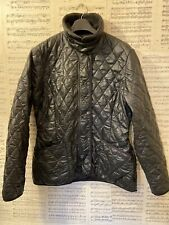 Womens Original Barbour Buff Polarquilt Jacket Black Quilted Coat Size 12