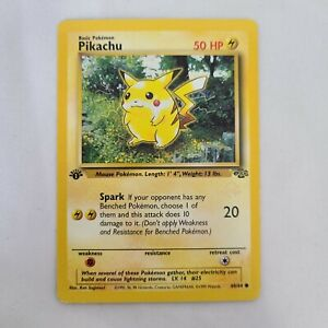 Pikachu 60/64 x1 1st Edition Jungle Common LP Pokemon 1999 Wizards Gold Stamp 6+