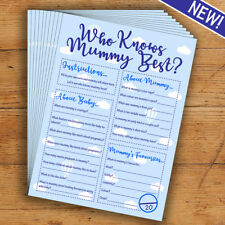 Baby Shower Game - Who Knows Mummy Best? Blue/boy -10 Players