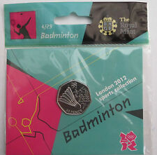 2012 50p OLYMPIC 04/29 BADMINTON COIN HANGING BAG BRILLIANTLY UNCIRCULATED @