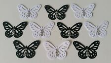 10 Black and White Monarch Butterfly Embellishments with Rhinestones
