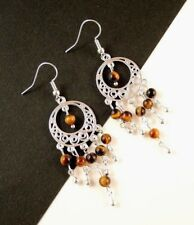 1 Natural Pair of Tigers Eye Gemstone Bohemian Dangle Earrings - #1032