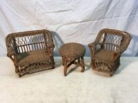 Vintage 3pc Wicker Doll Furniture chair table couch