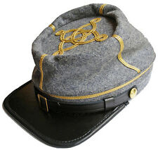 American Civil War oficial confederado capitán Gris Kepi Cap Hat Grande 58/59cms