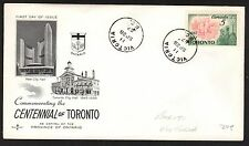 CANADA CENTENNIAL OF TORONTO FIRST DAY COVER - POSTMARK VICTORIA B.C.