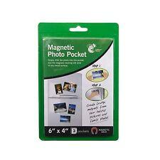 """3 PK MAGNETIC PHOTO POCKET HOLDER FRIDGE MAGNET PHOTOGRAPHS 6"""" x 4"""" BRAND NEW"""
