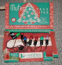 GE General Electric VINTAGE Muter Christmas Tree Lites Lights Bulbs 7ct w/ Box
