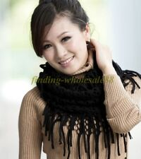 Nice Women Girl Warm Infinity 2 Circle Knit Cowl Neck Long Tassel Scarf Shawl