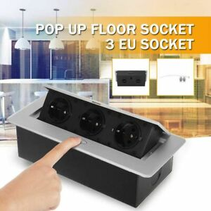 Floor Table Electrical Socket 3 EU Plug Outlet Aluminum Alloy Rectangular Shapes