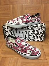 RARE🔥 VANS Classic Slip On Senior Skulls Pink White Canvas Sz 9 Men's 2004 Used