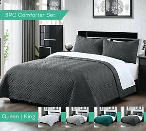 3PC Embossed Bedspread Bed Comforter Sets 2 Pillowcases Queen King Size Coverlet