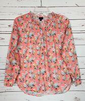 J.Crew Liberty Fabric Women's Size 0 Coral White Floral Button Blouse Shirt Top