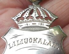 1892 HAWAIIAN JEWELRY antique silver royal crown vtg iolani palace art pendant
