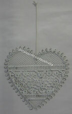 18cm Rustic French Provincial Hanging Metal Heart Decoration With Flowers BNWT