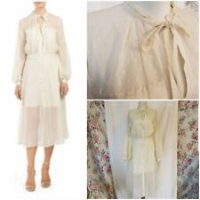 French Connection Vintage Style Secretary Dress, Cream, Gold & Sheer, Size 10