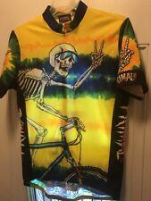 Primal Wear Greatful Tread Skeleton Cycling Jersey Tie Dye Large Yellow/green LG