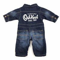 Oshkosh Baby B'gosh Blue Denim Coveralls One Piece Lined Big Logo Cotton Size 3M