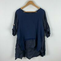 Made In Italy Tunic Top One Size Blue Long Sleeve Boat Neck Button Closure