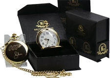 Roger Moore Signed 24k Gold Clad JAMES BOND 007 Pocket Watch and Chain Set