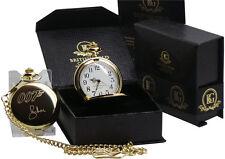 Roger Moor firmato 24k ORO placcati James Bond 007 Orologio da Taschino e Catena di lusso Set