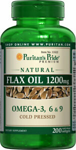 Puritan's Pride Natural Flax Oil 1200mg with Omega 3, 6 & 9 - 200 Softgels