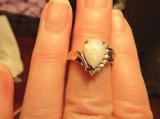 WOMENS PEAR SHAPE FIRE OPAL, DIAMONDS AND GOLD RING, SZ, 6.5, 10K GOLD,EUC