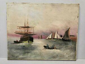 Ancien Tableau / Huile sur Toile signée VERNEZ ? bateau , marine , bretagne