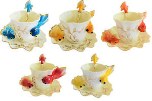 Fish Porcelain Coffee Tea Gift Set, Saucer, Cup, Spoon, For Daily Use, Gift