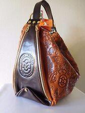 New Marino Orlandi Italian Leather Bucket Sling Bag w/Embossed Butterfly Designs
