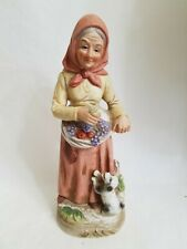 """Homco Old Country Woman and Dog 8""""Bisque Porcelain"""
