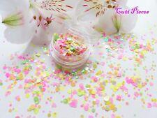 UNGHIE grosso * Coriandoli * Neon MATT Forma Esagono Cuore Glitter Spangle MIX Pot